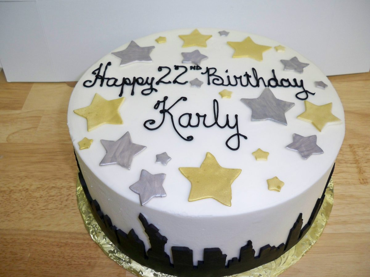 birthday cake, cake with stars, silhouette cake