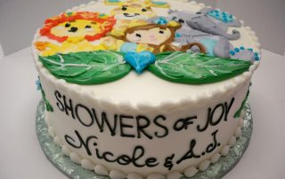 baby shower cake, jungle cake, baby animal cake