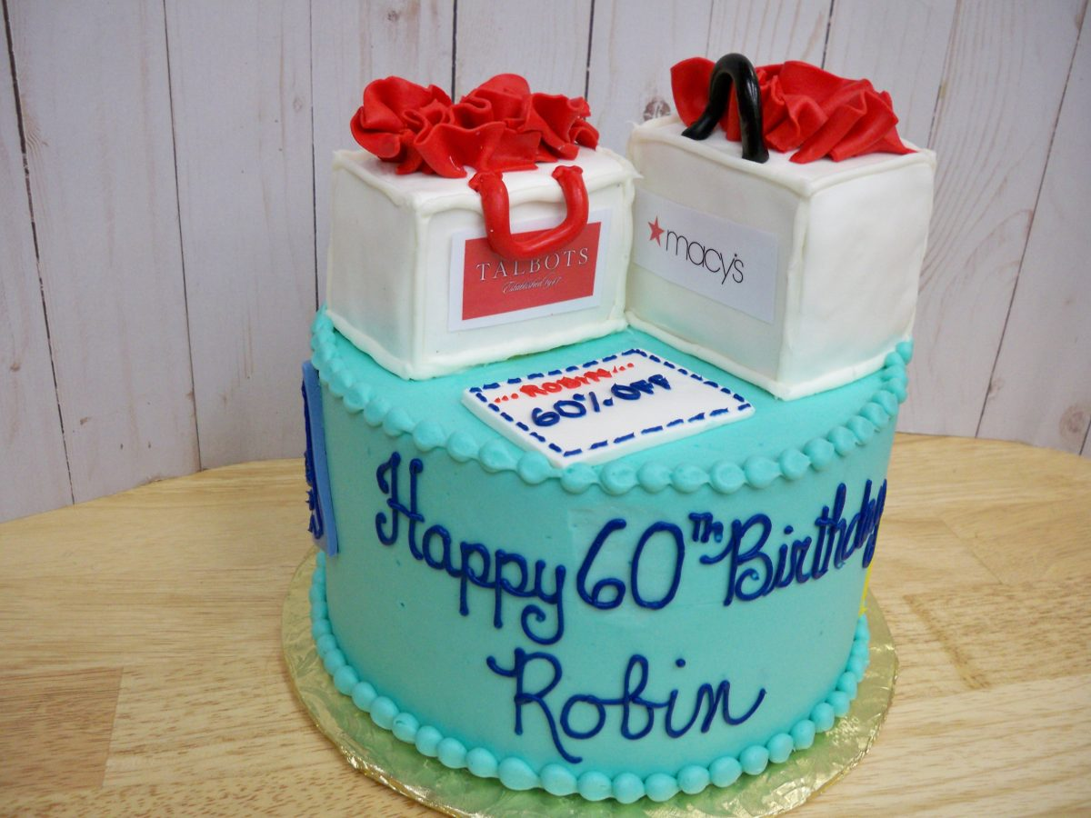 shopping bag cake, designer cake
