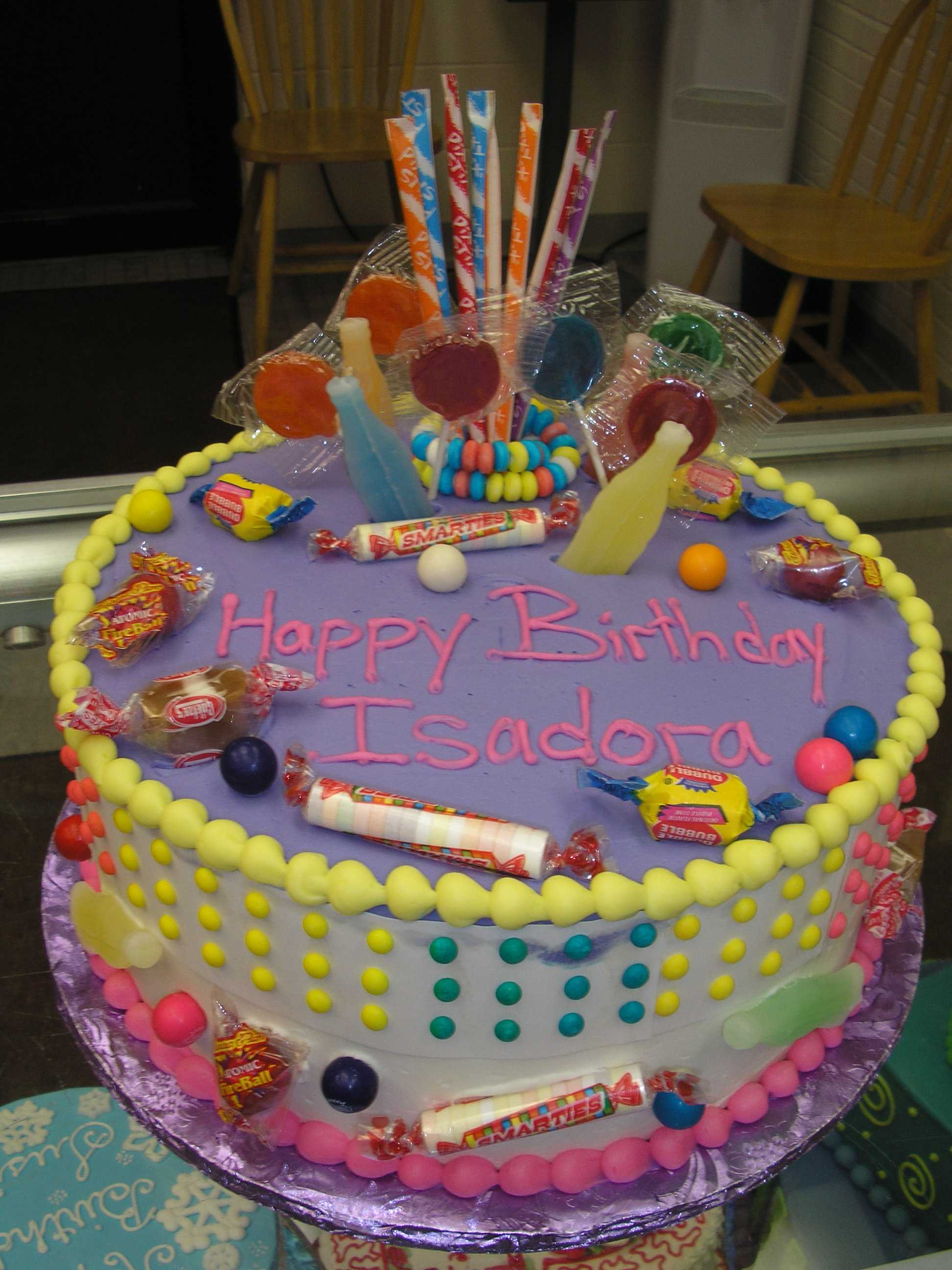 penny candy design cake, smartees. gumballs, lollipops
