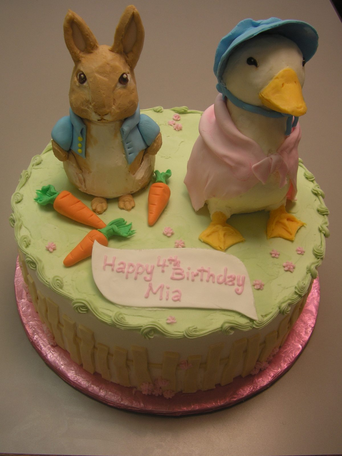 Beatrix potter cake, rabbit cake, duck cake