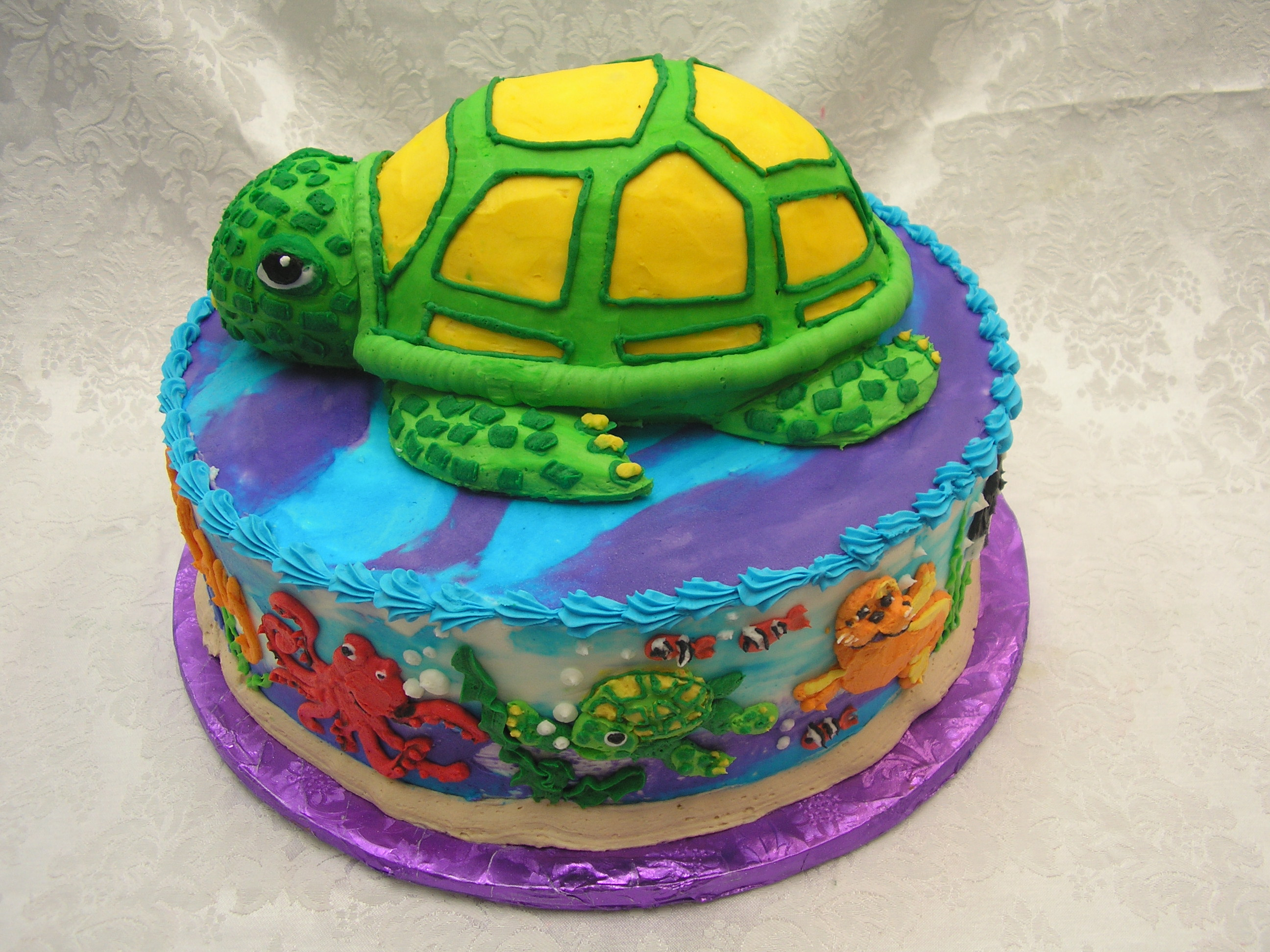 3D sea turtle with sea life