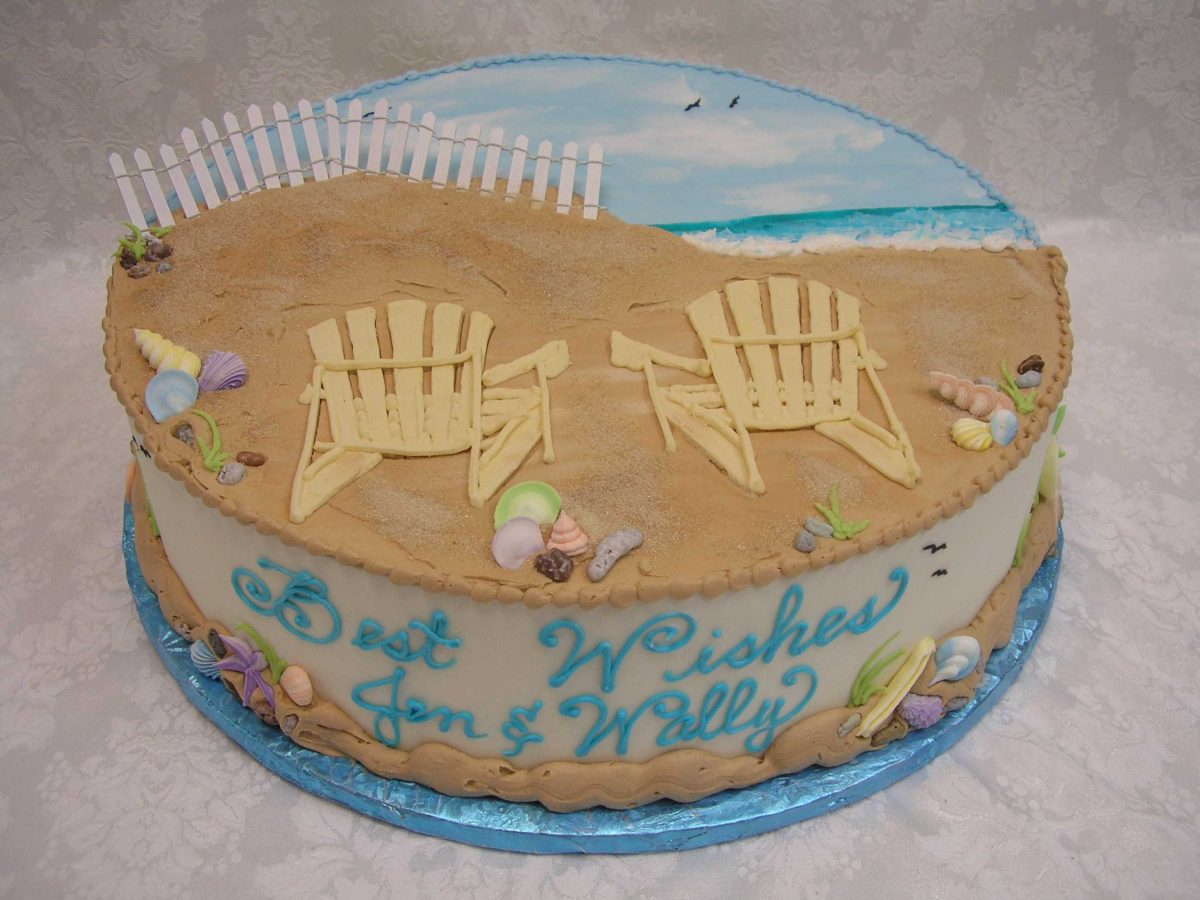 bridal shower cake, beach cake, adirondack