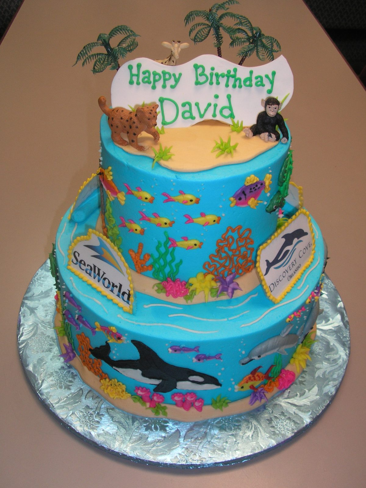 Two Tier SeaWorld cake