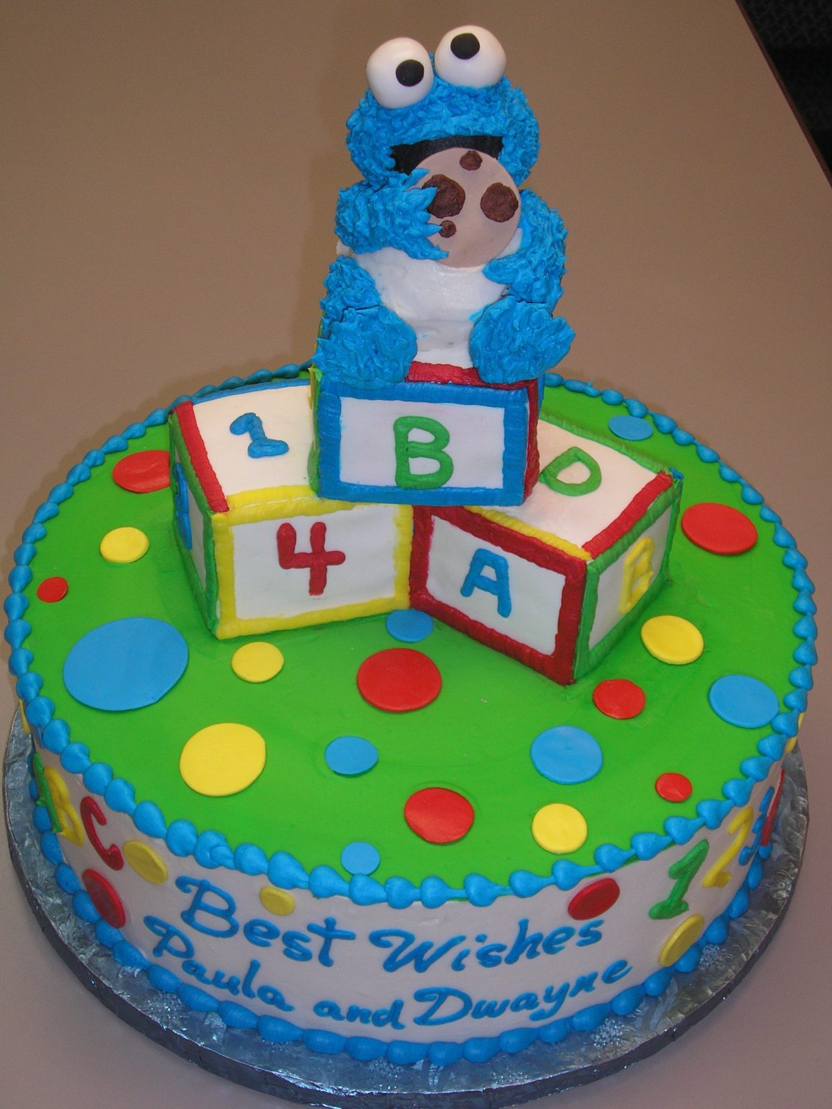 3D cookie monster cake, 3D building block cake