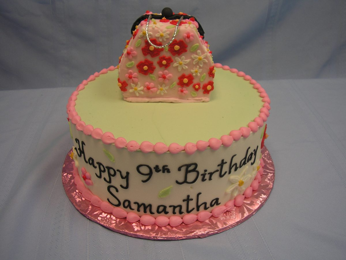 3D purse on a cake, pocketbook cake