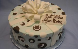 polka dot cake with gift bow
