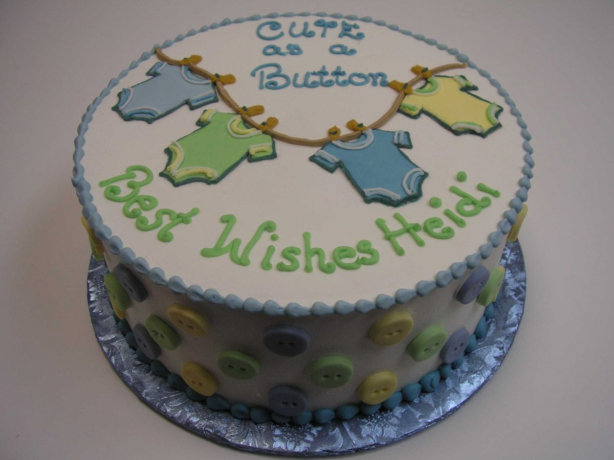 Baby Shower cake, onsies and buttons