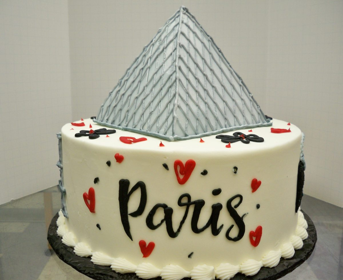 paris cake, birthday cake, louvre cake