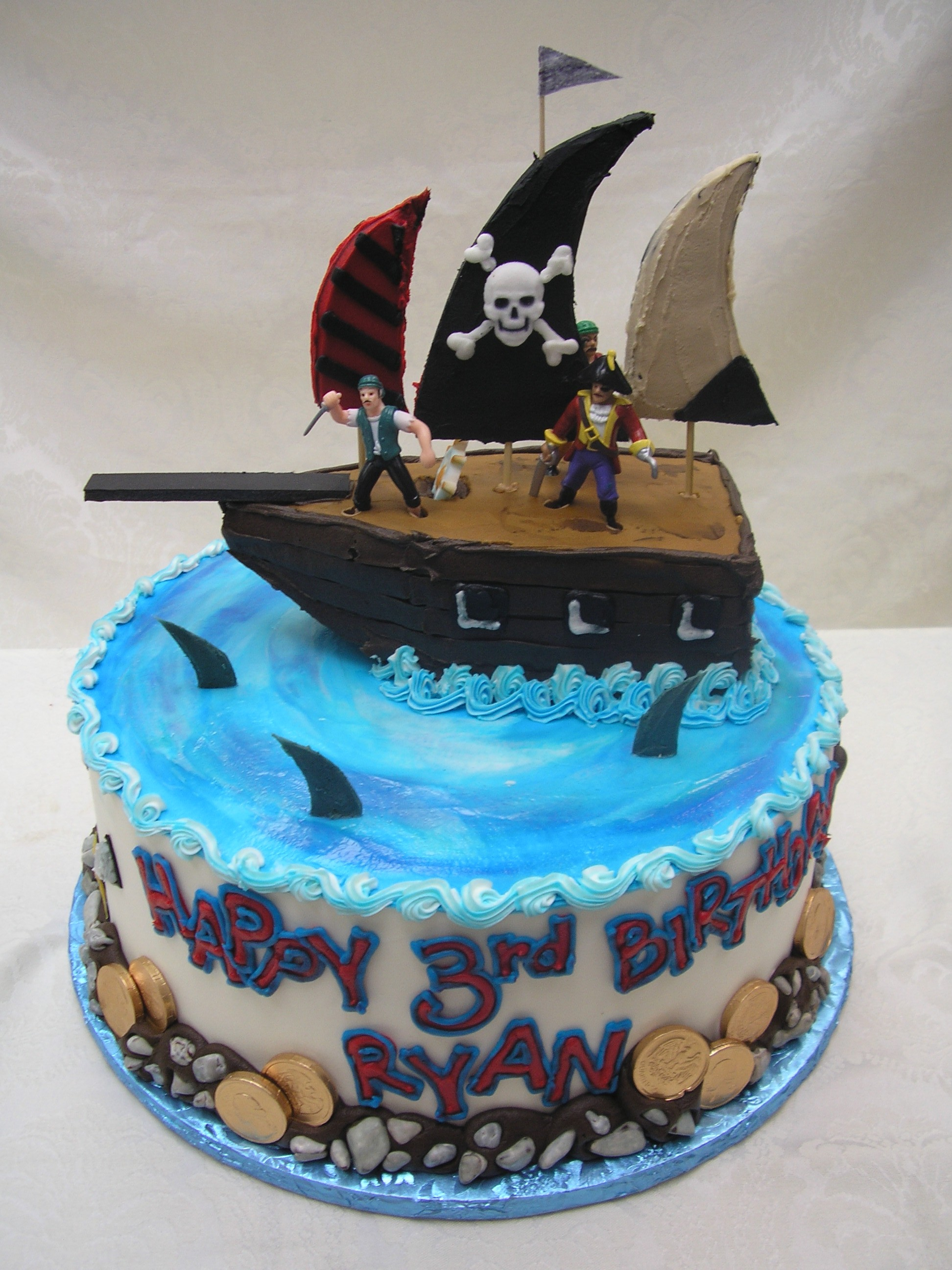 3D pirate ship on a cake