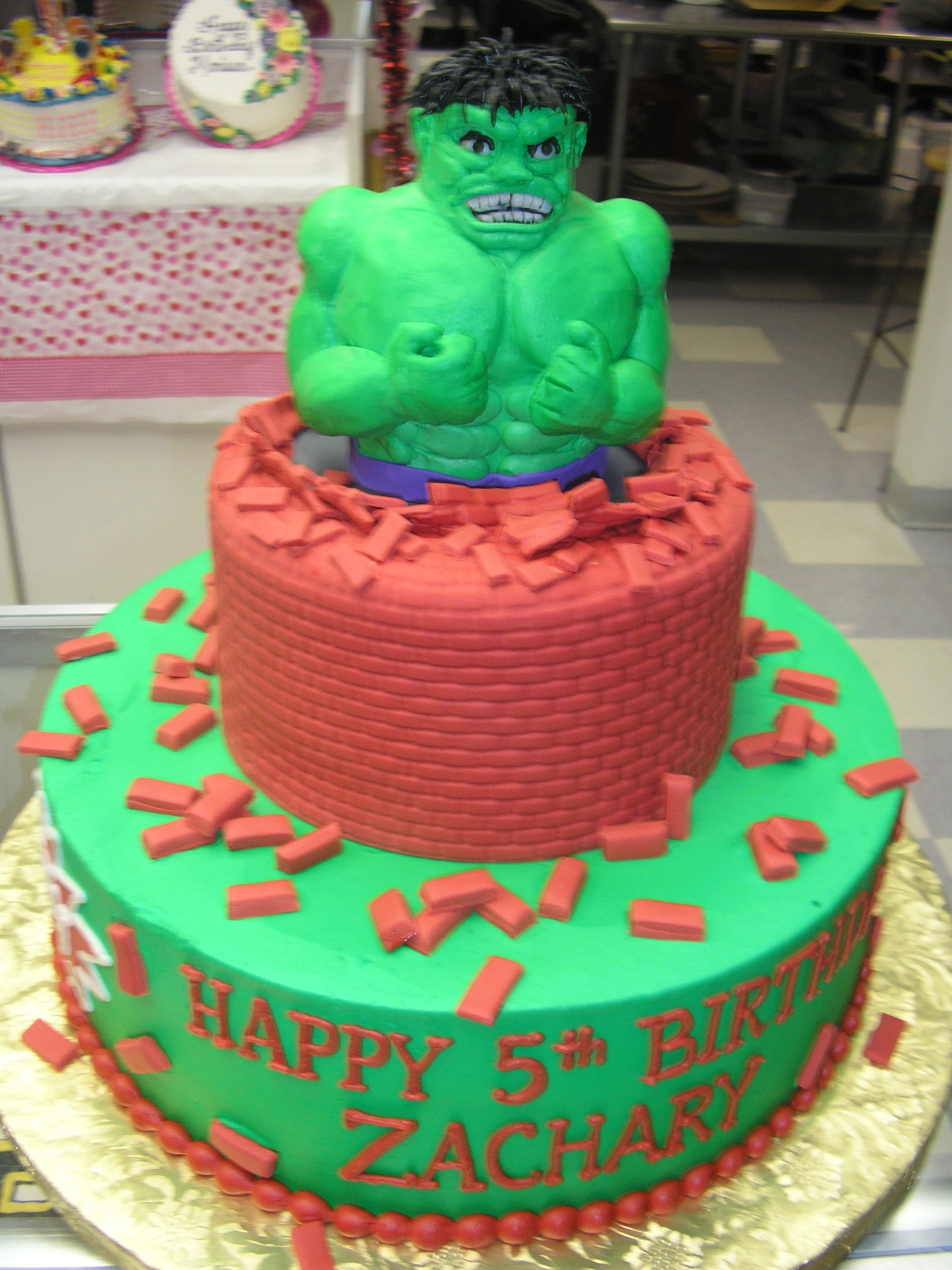 two tier 3D hulk cake