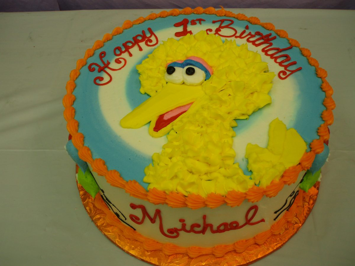 Big Bird cake, icing drawing of Big Bird cake