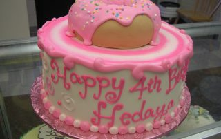 3D donut on a cake,