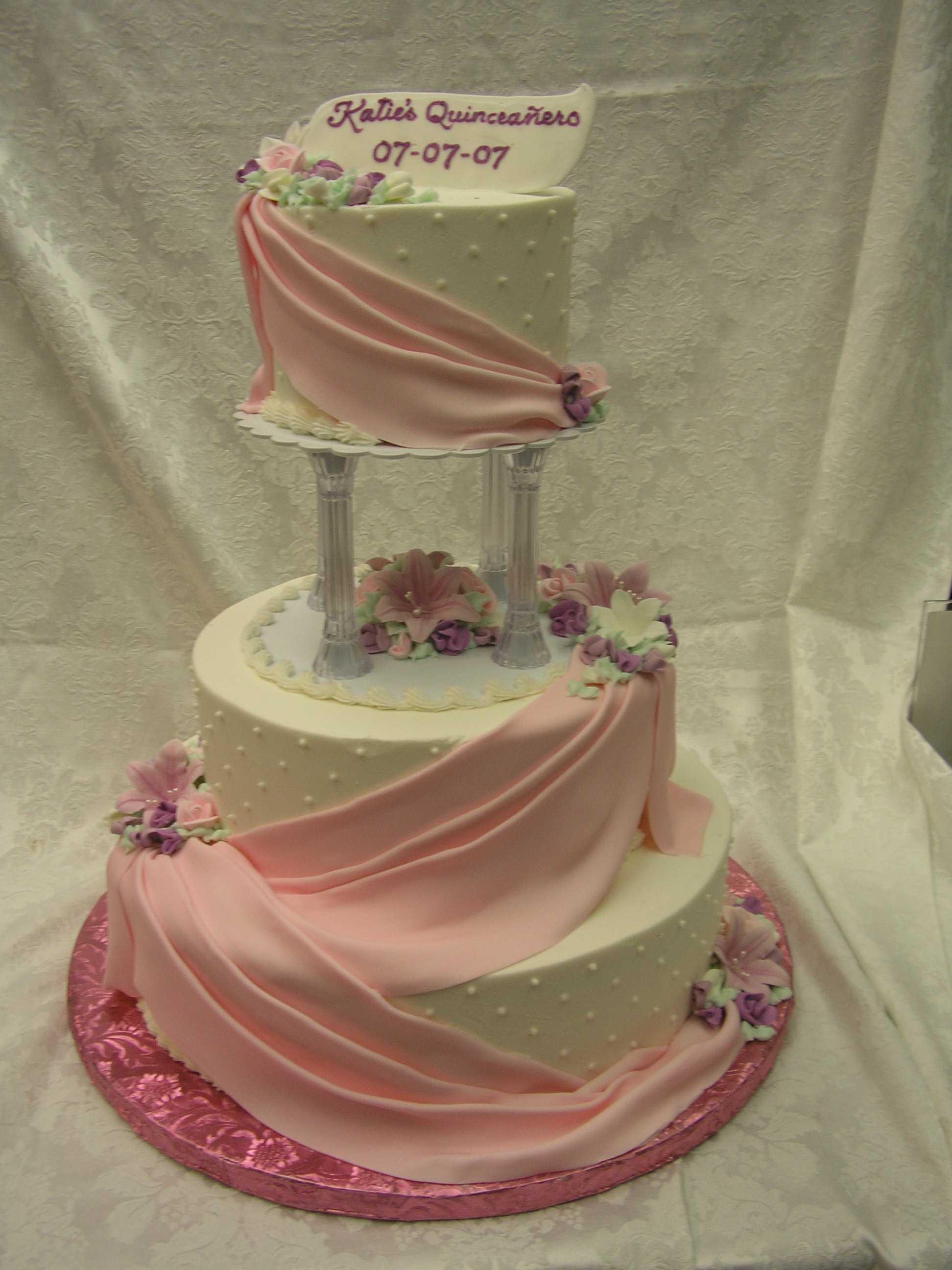 column cake, multi tier cake