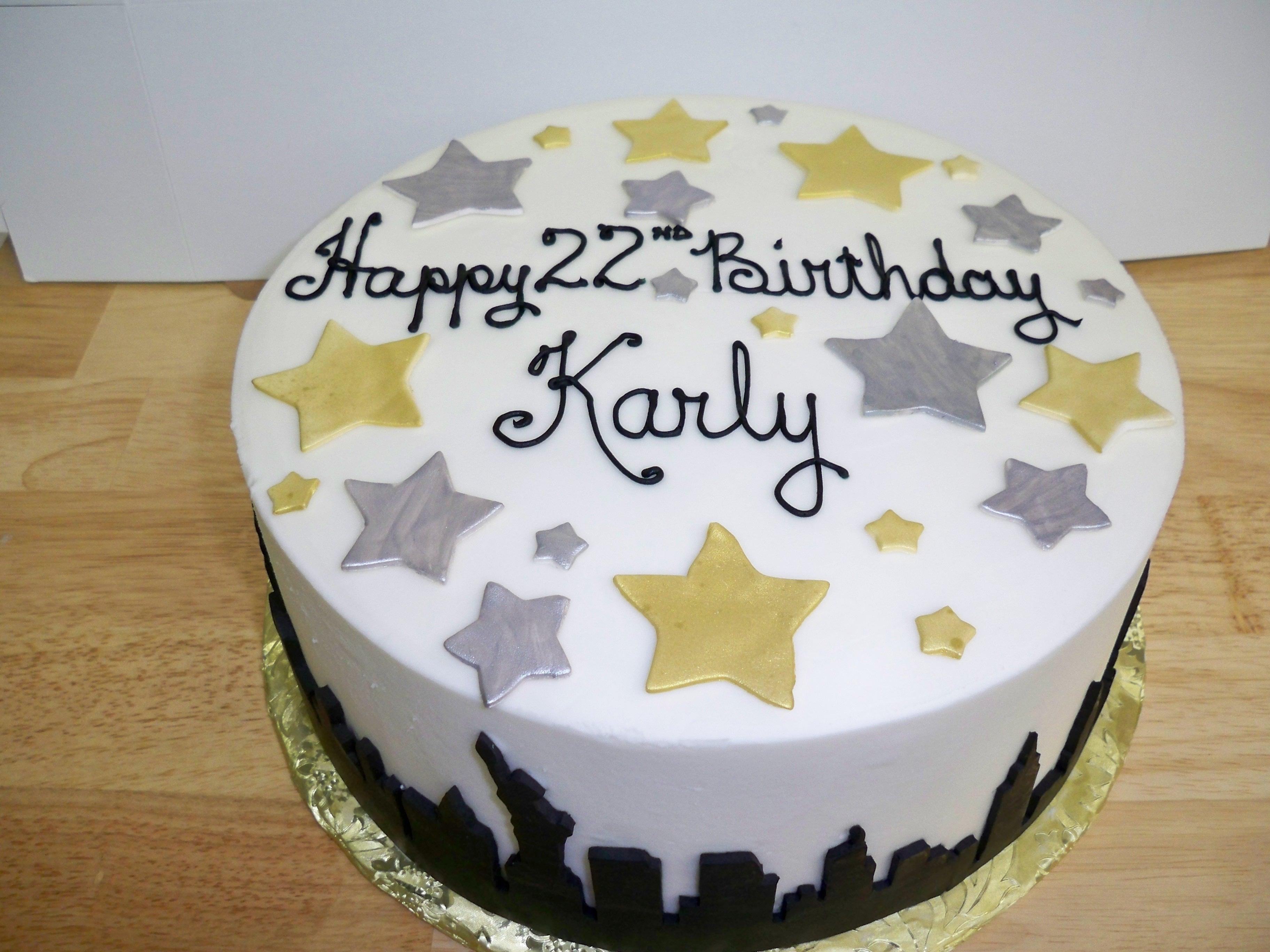birthday cake, cake with stars, silhouette cake