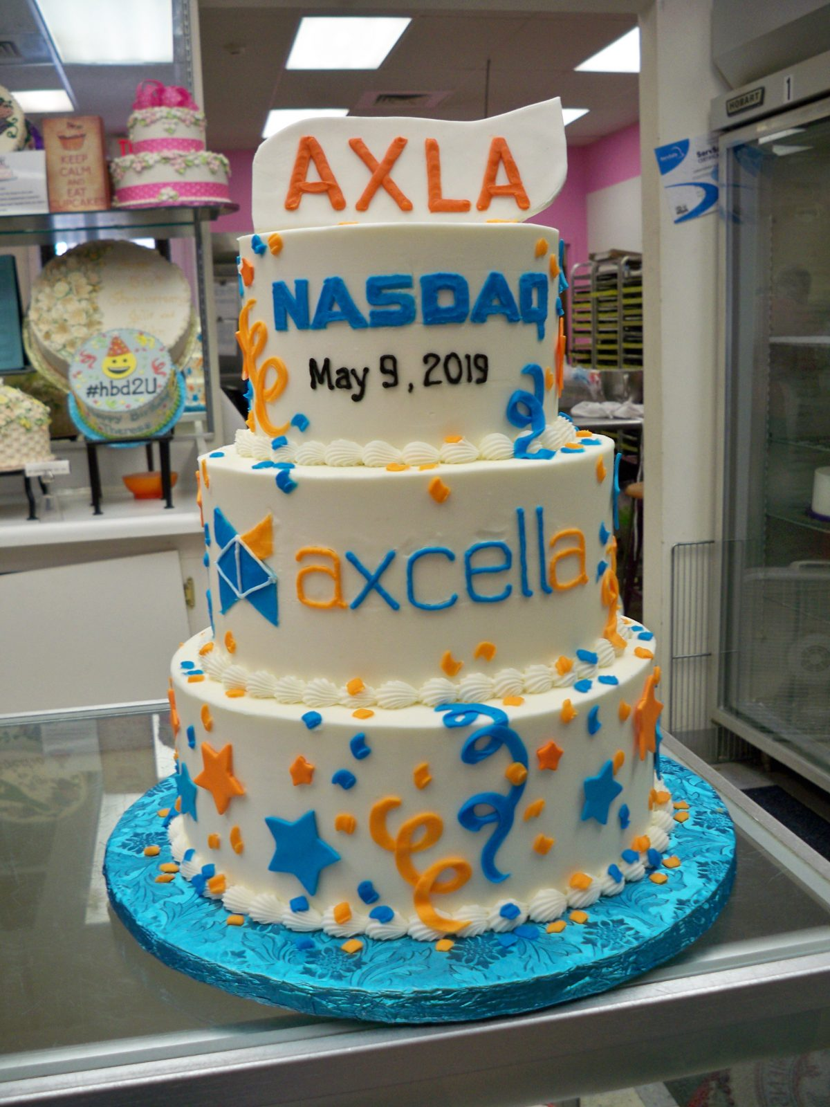 Corporate cake, company anniversary, nasdaq listing cake