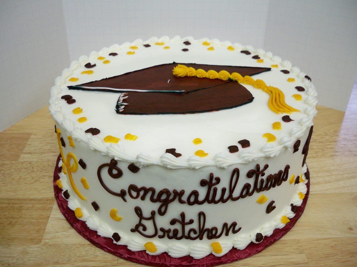 graduation cake, grad cap cake