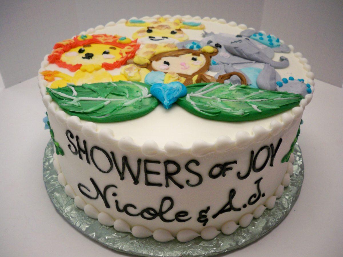 baby shower cake, jungle cake, baby animal cake