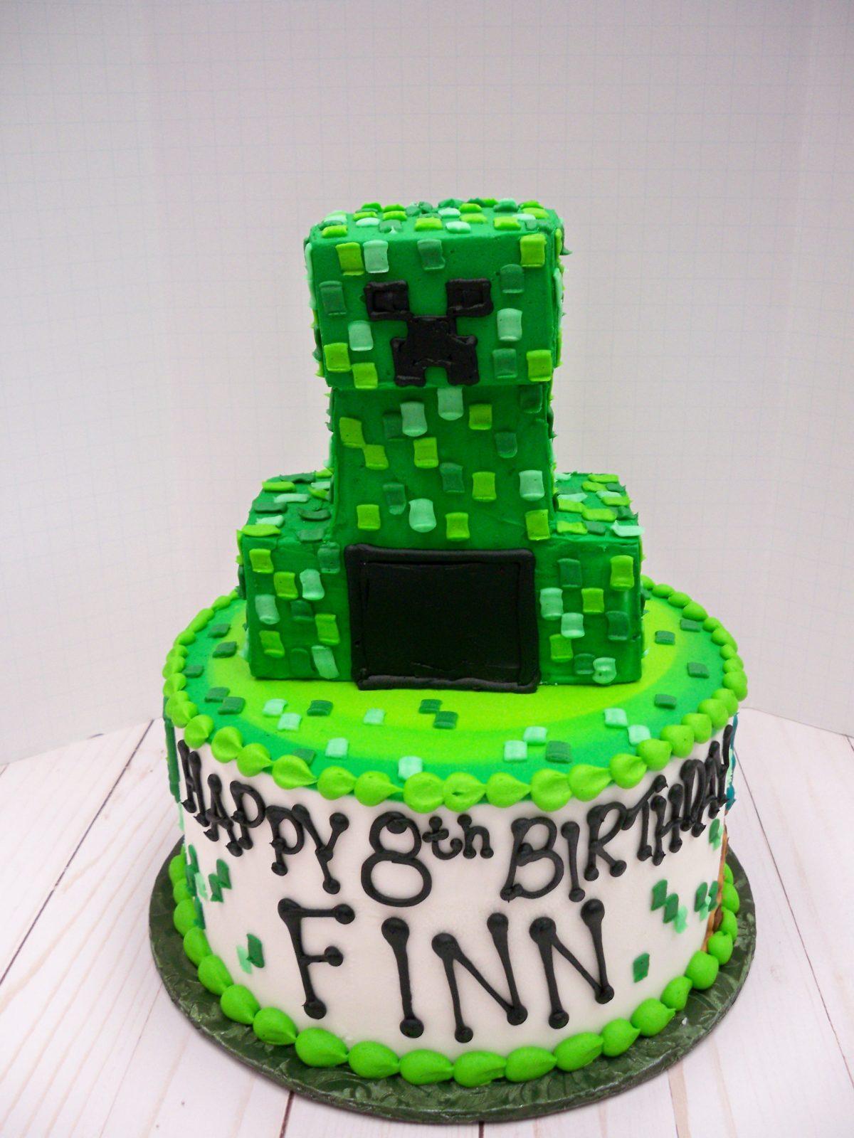 minecraft cake, creeper cake,
