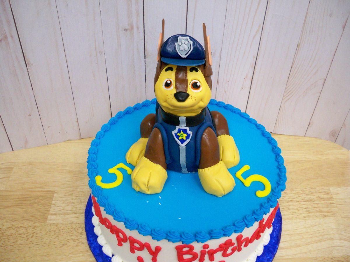paw patrol cake, chase cake