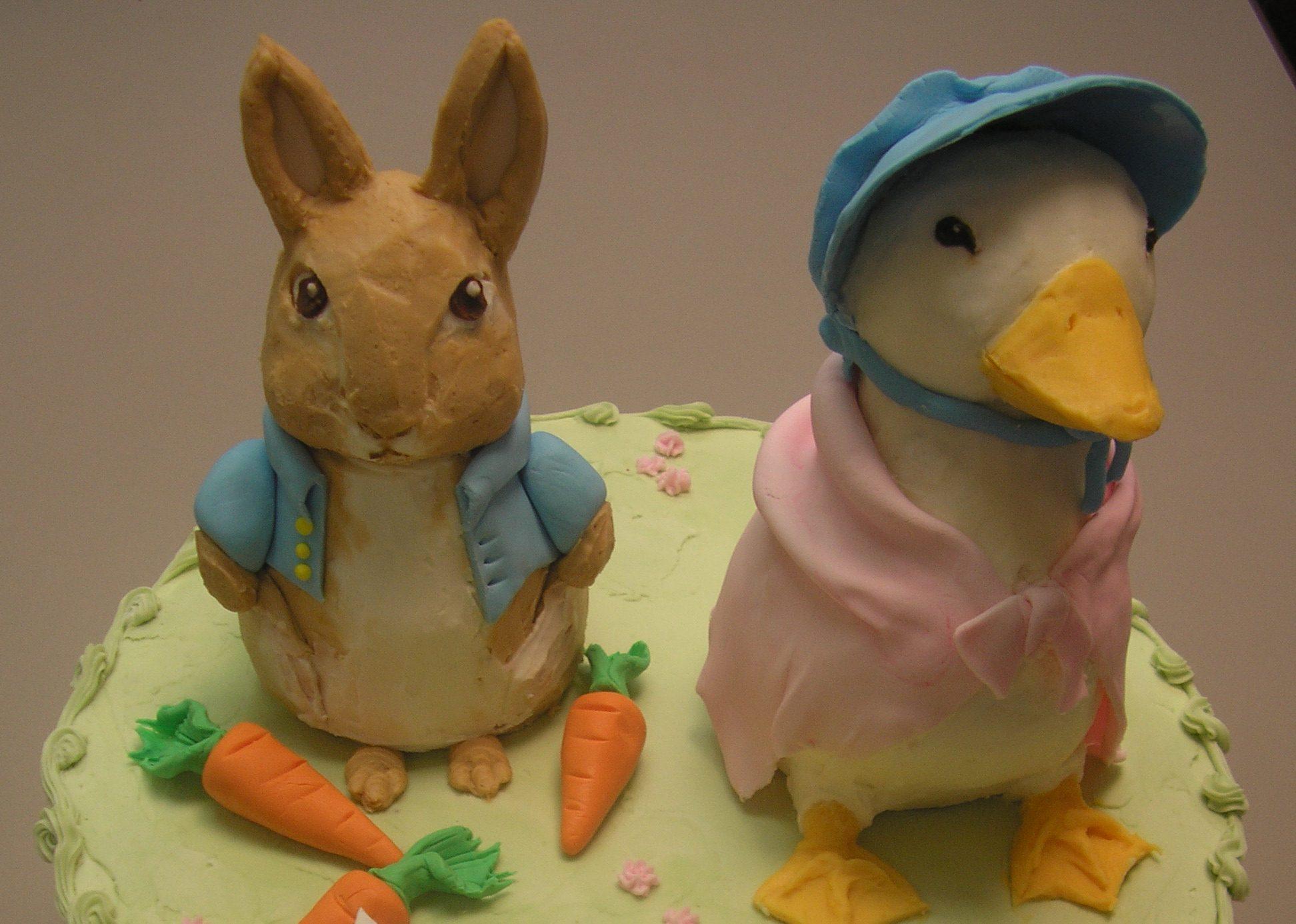 Beatrix potter cake, rabbit cake, duck cake