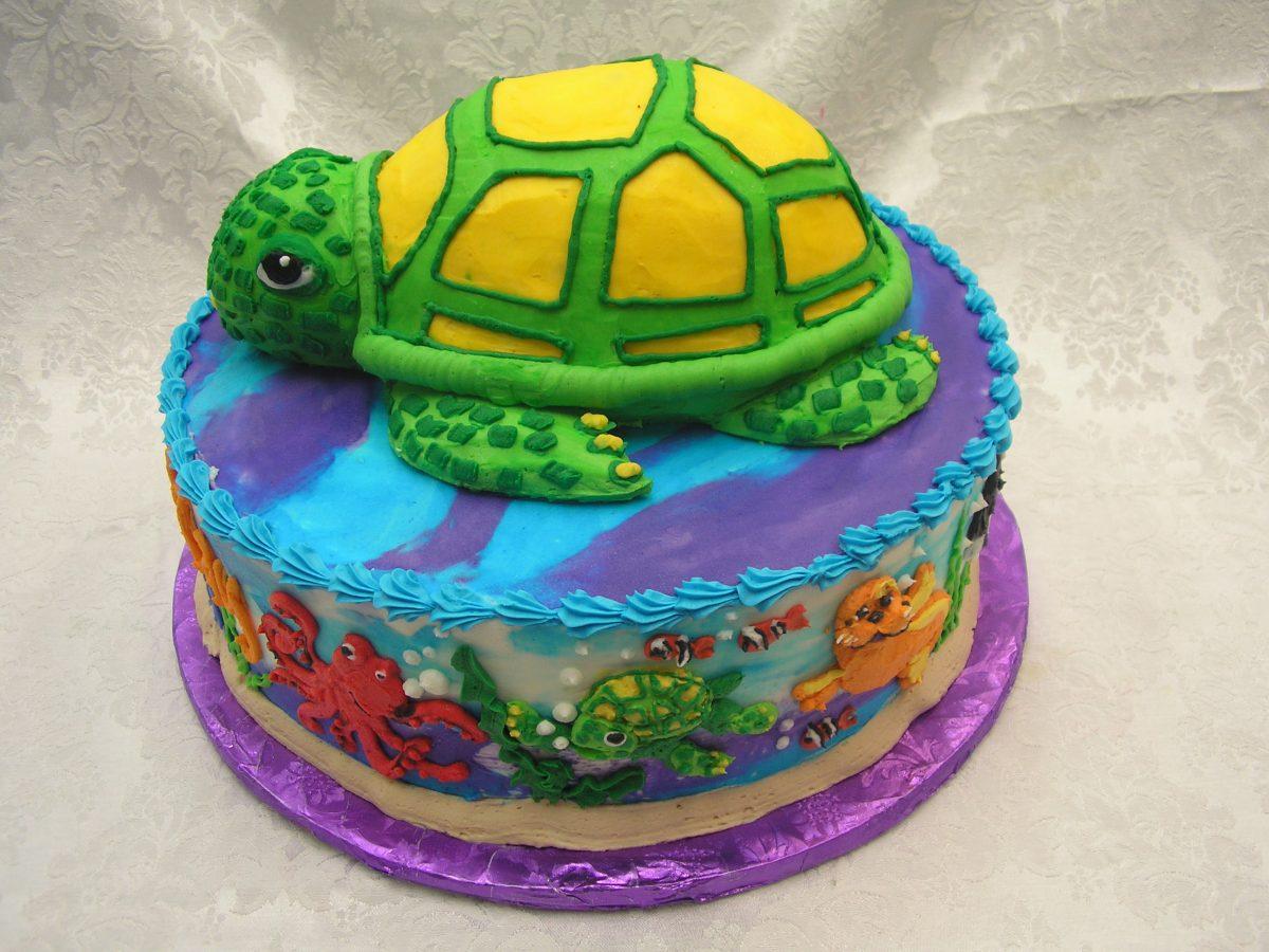 3D sea turtle with sea life