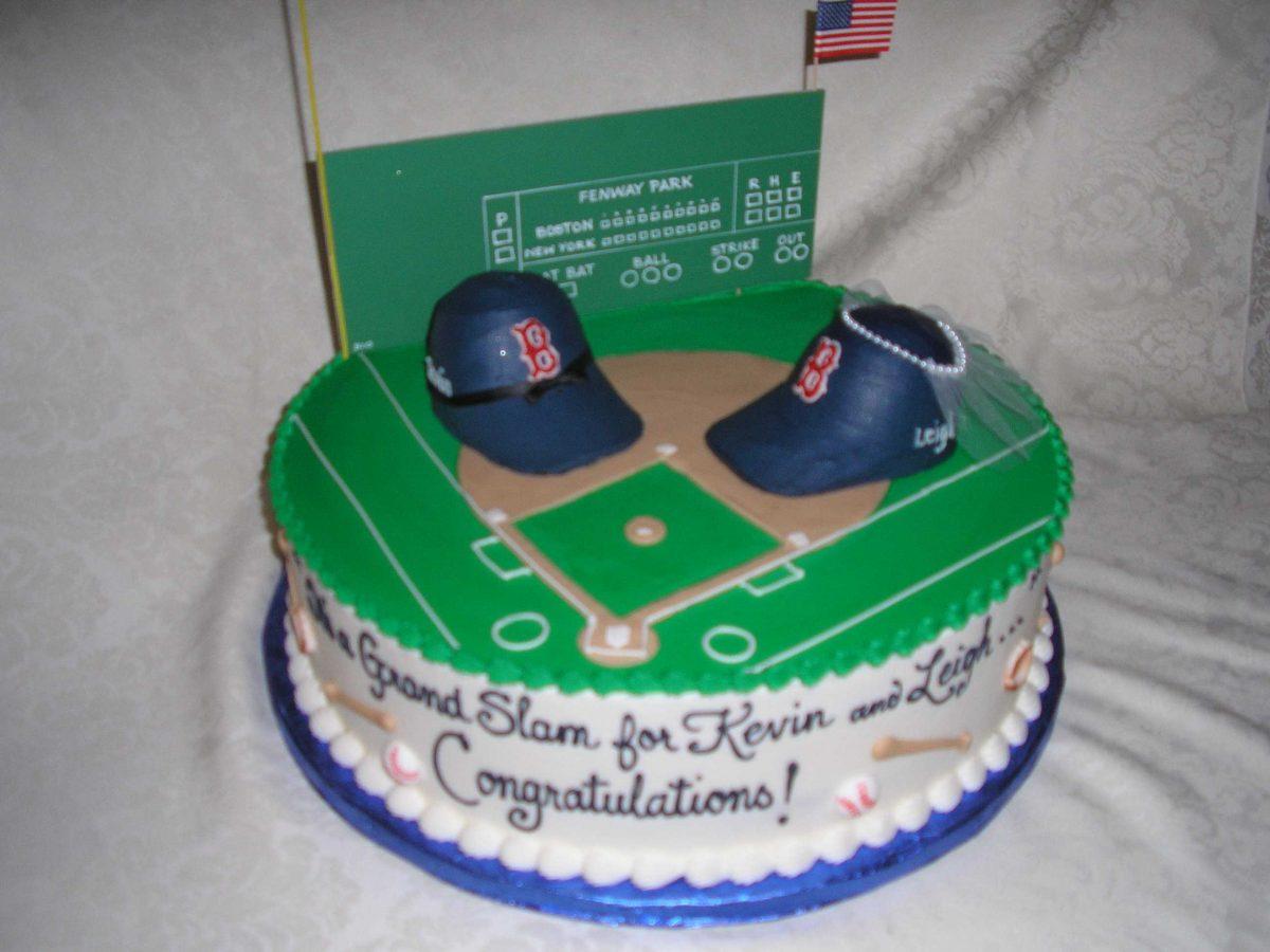 wedding shower cake, fenway cake