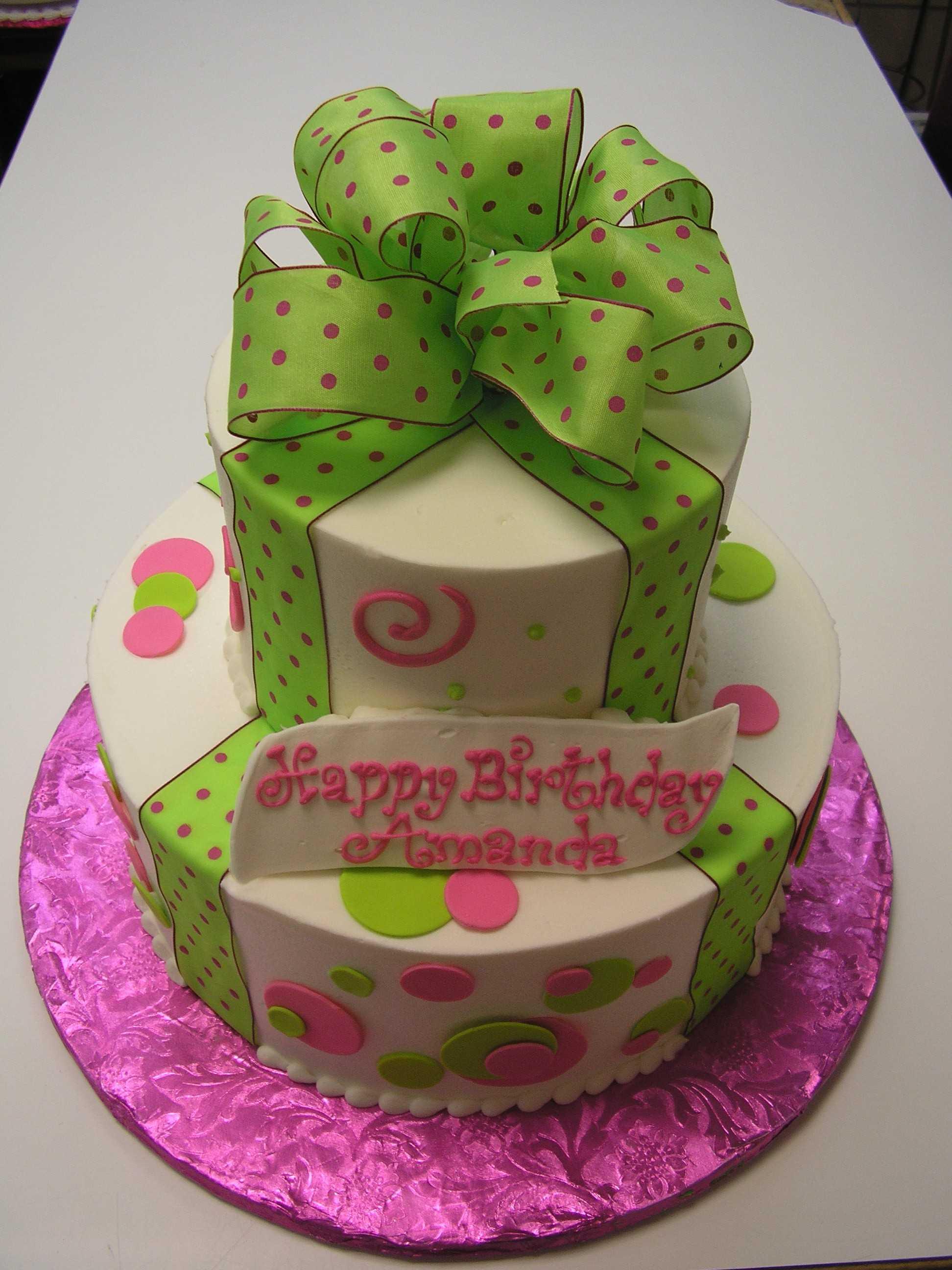 multi tier cake, polka dot cake, gift box cake