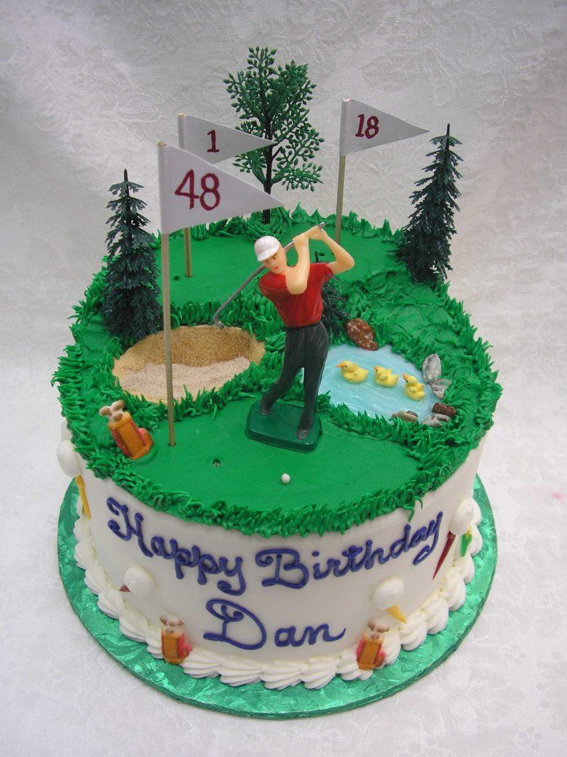 golf course cake, golfer cake