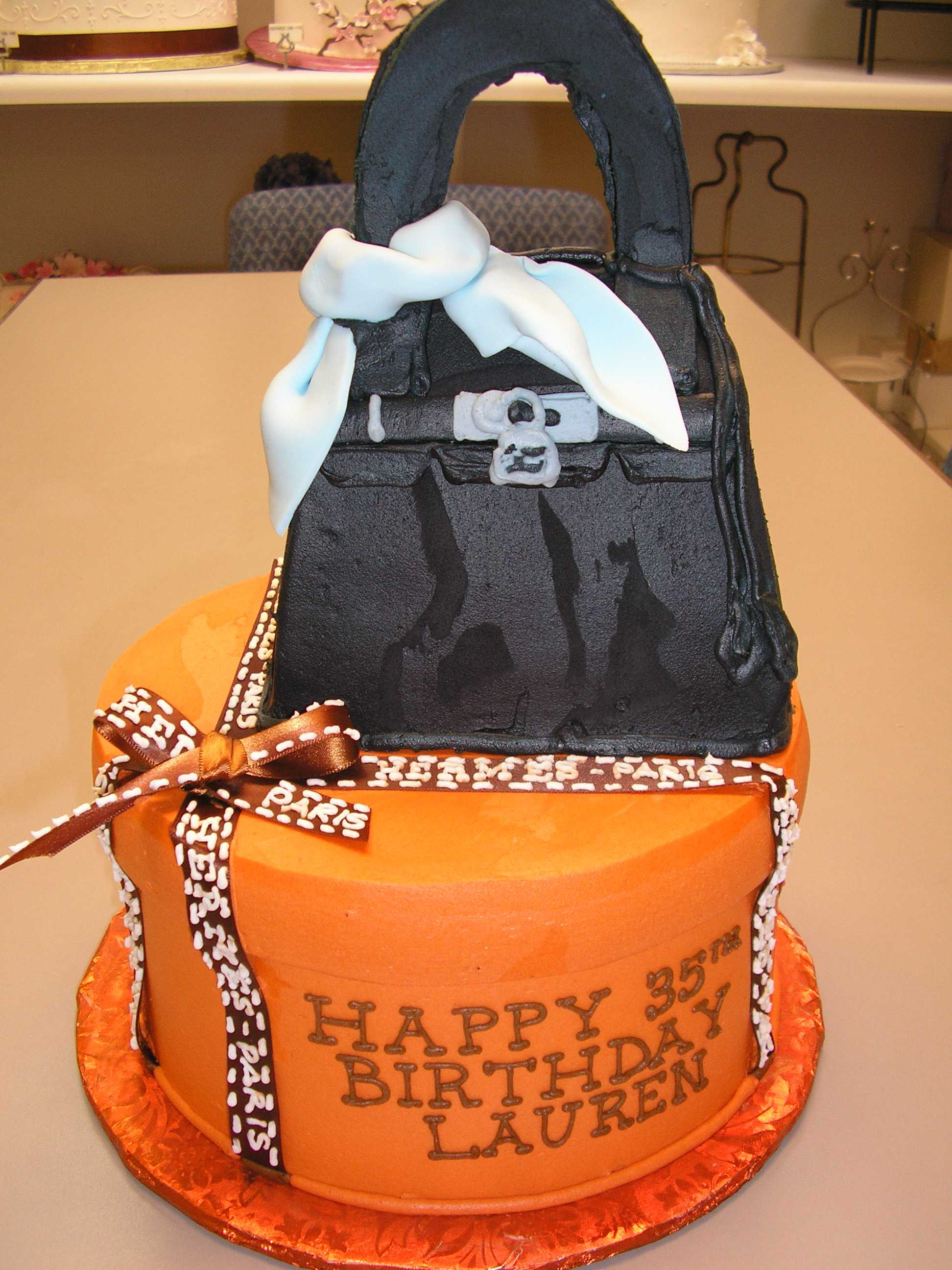 hermes cake, handbag cake