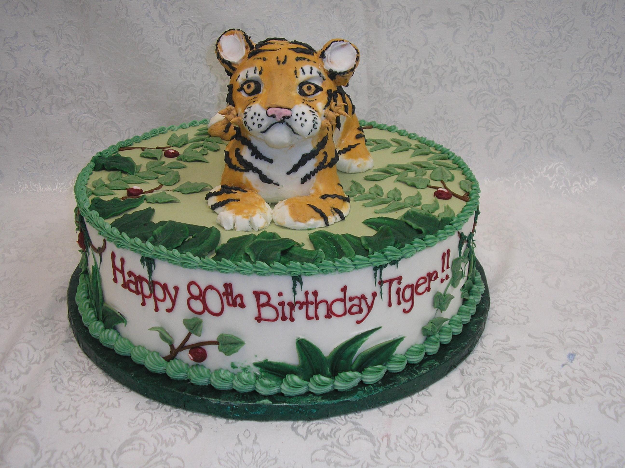 3D cake, jungle cake, tiger cake,