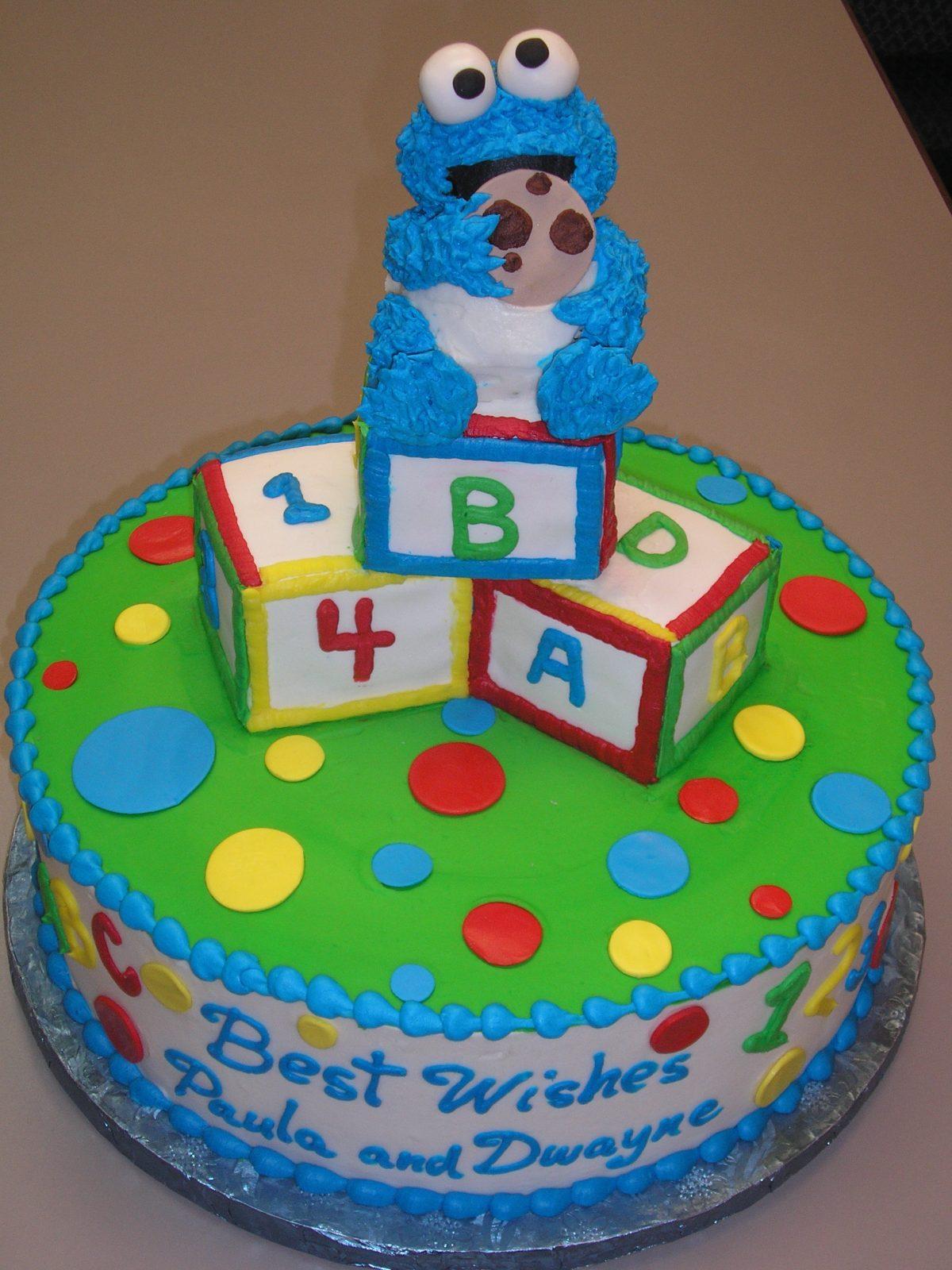 3D cookie monster cake, 3D building block cake