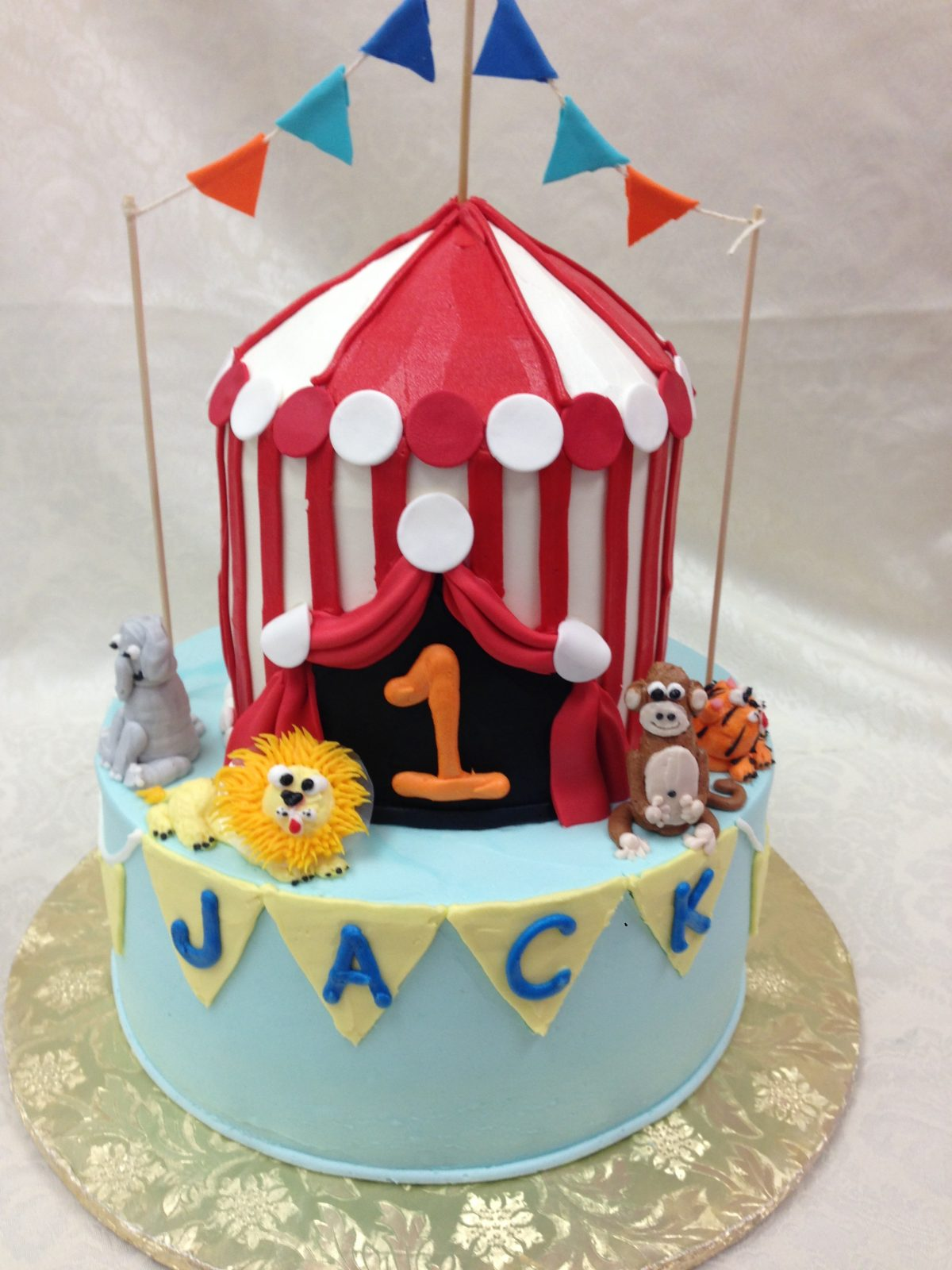 two tier circus tent cake, circus cake