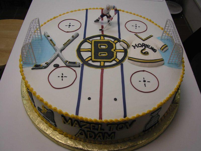 bruins cake, hockey cake