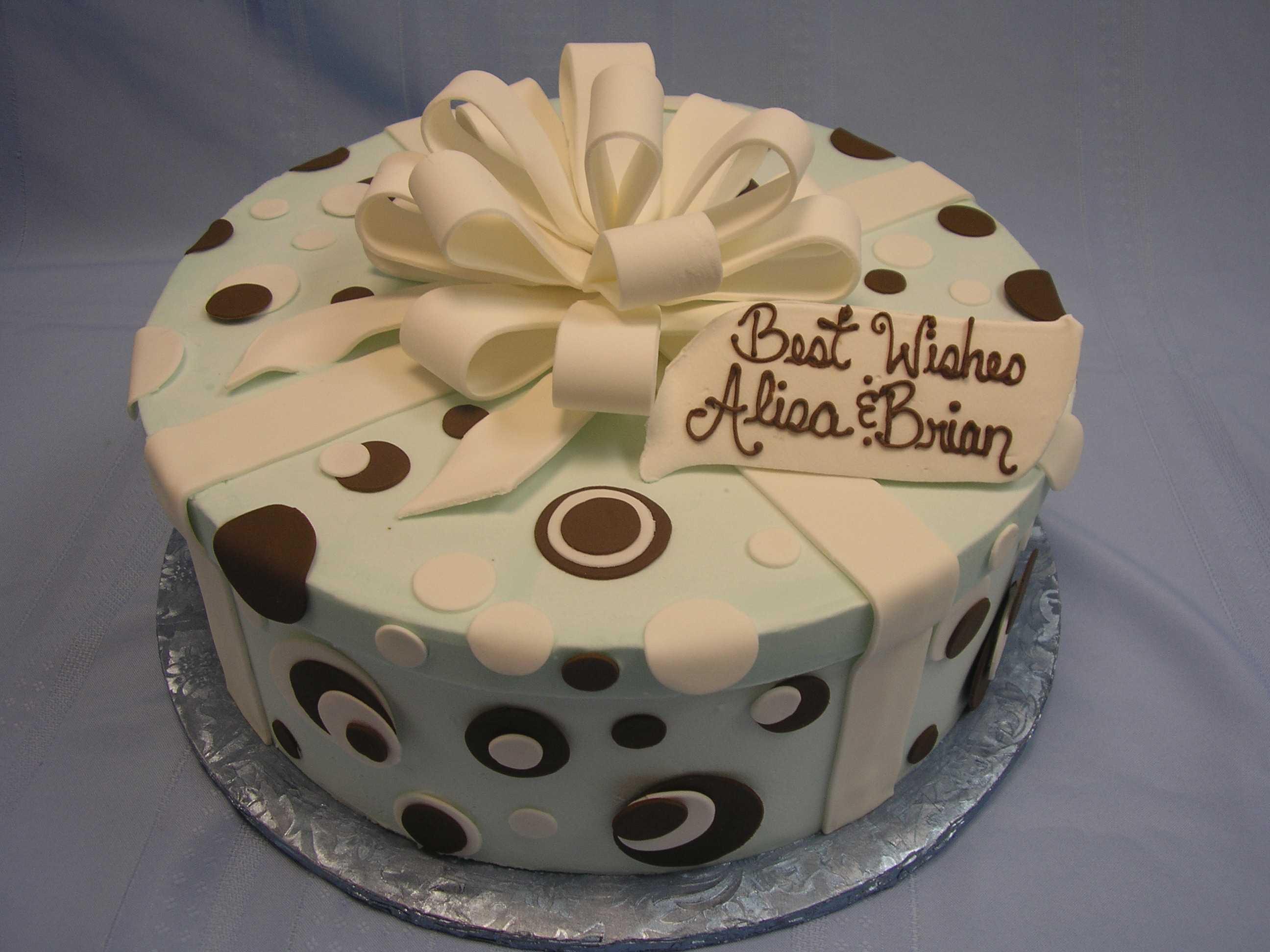 polka dot cake with gift bow