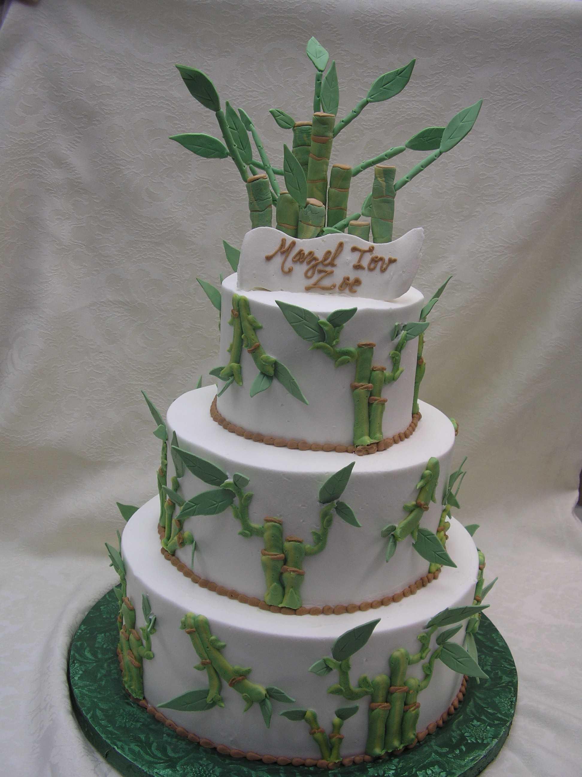 Multi tier bamboo cake