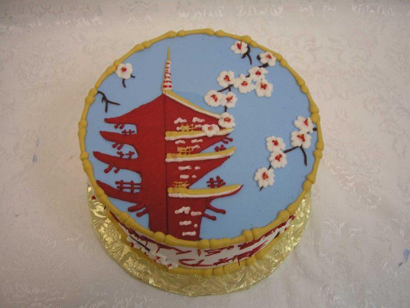 pagoda cake, cherry blossom cake