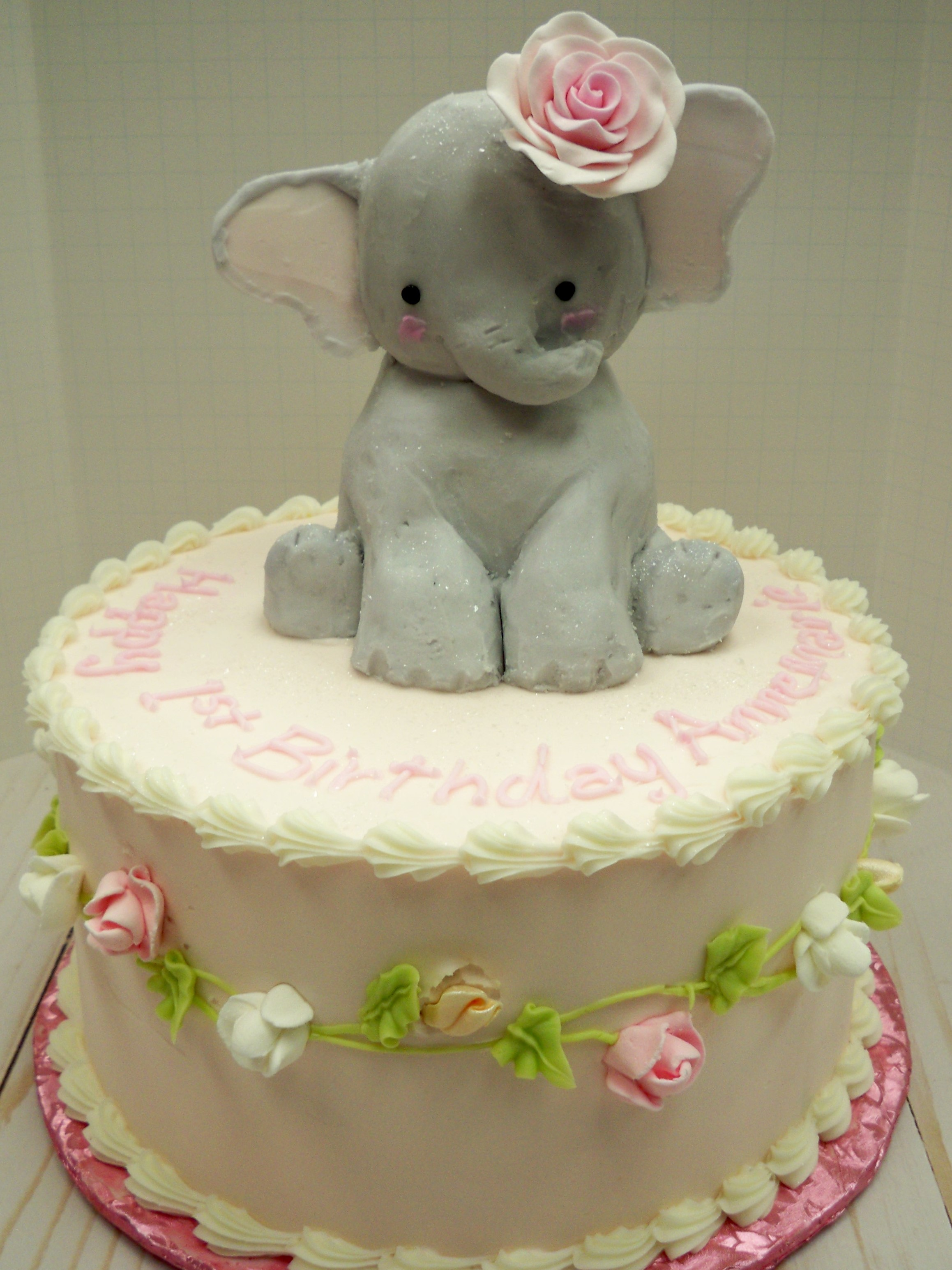 Baby elephant cake, baby shower cake, birthday cake