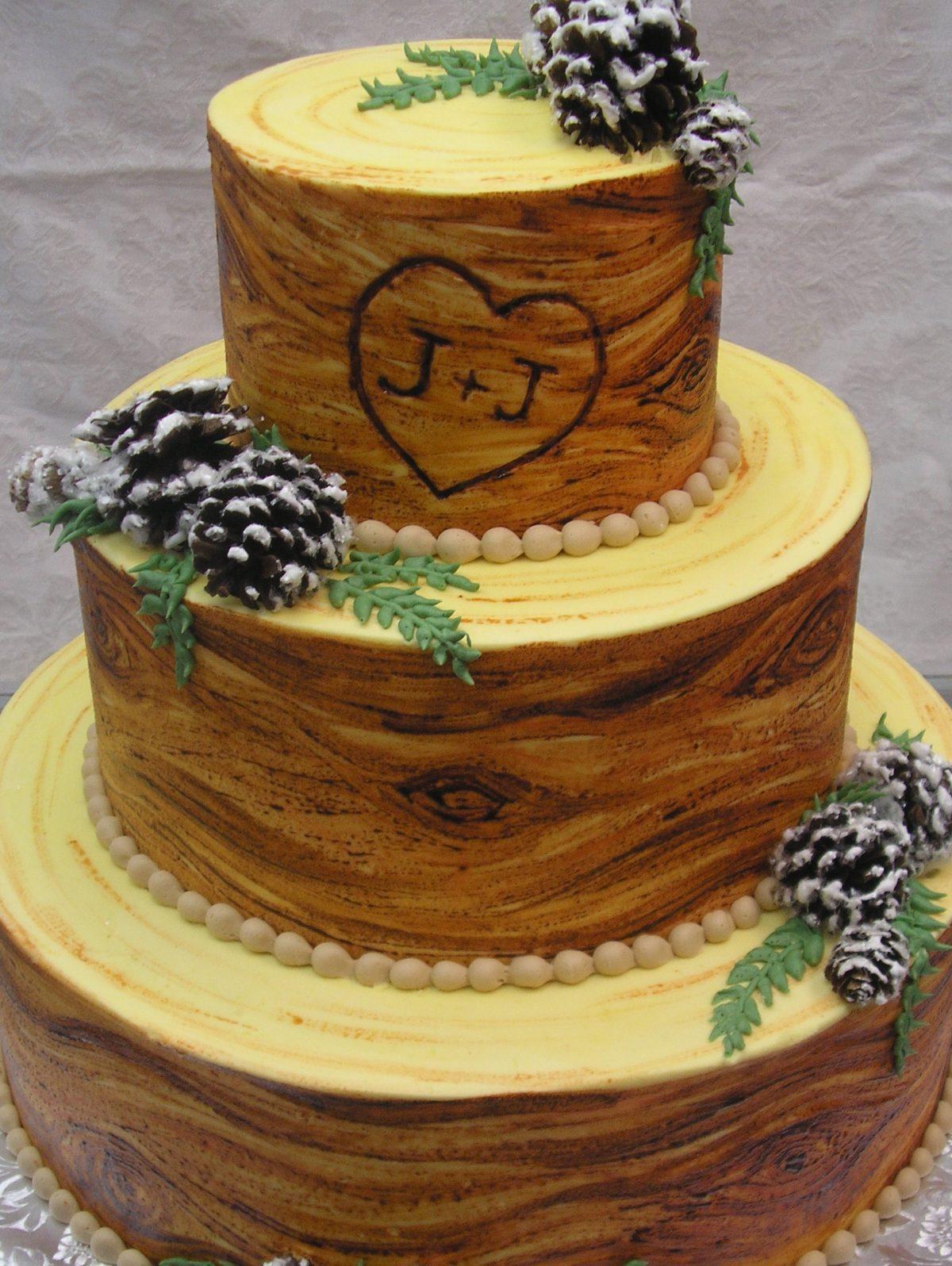wood grain texture wedding cake