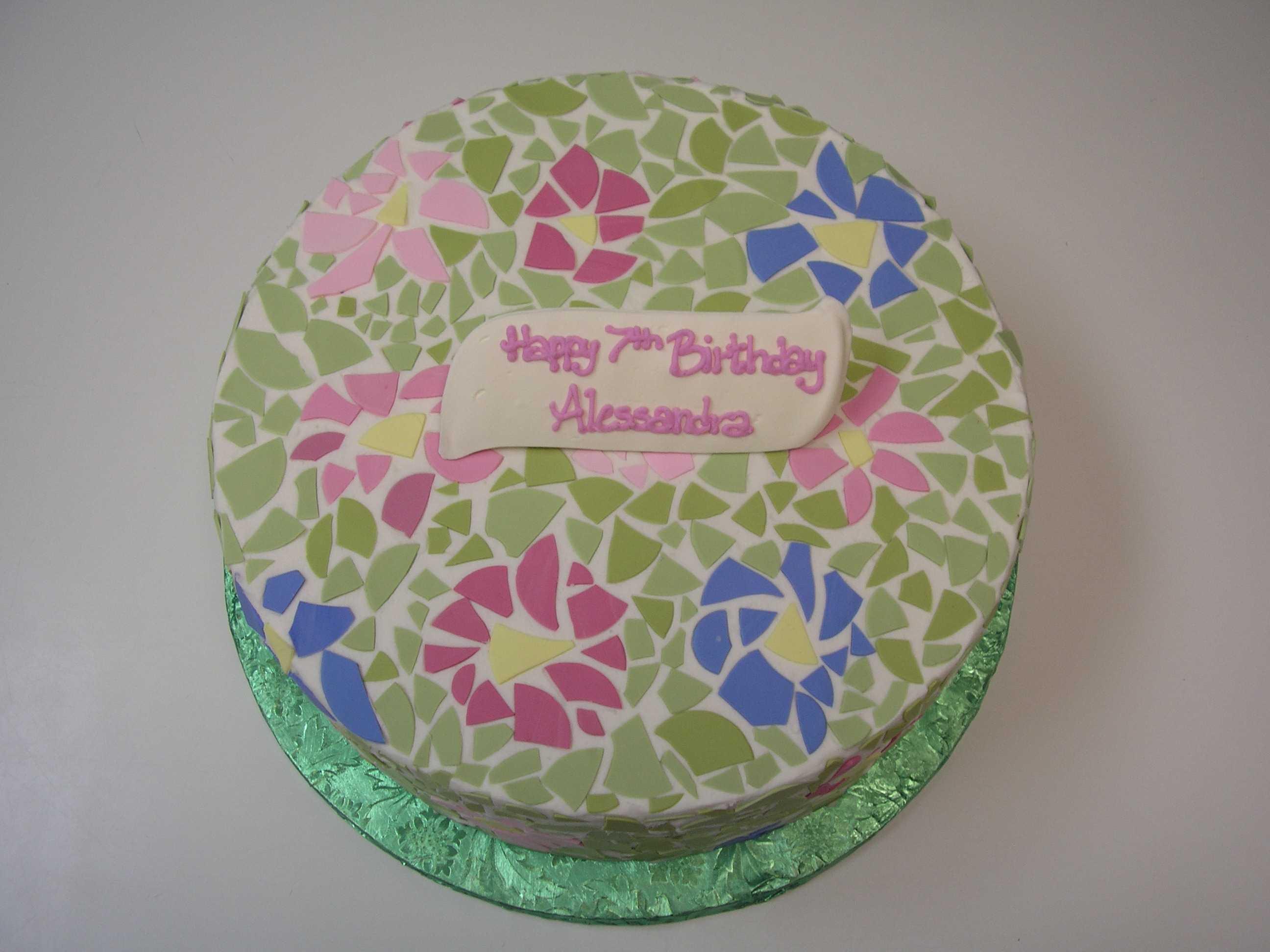 mosaic cake, flower cake