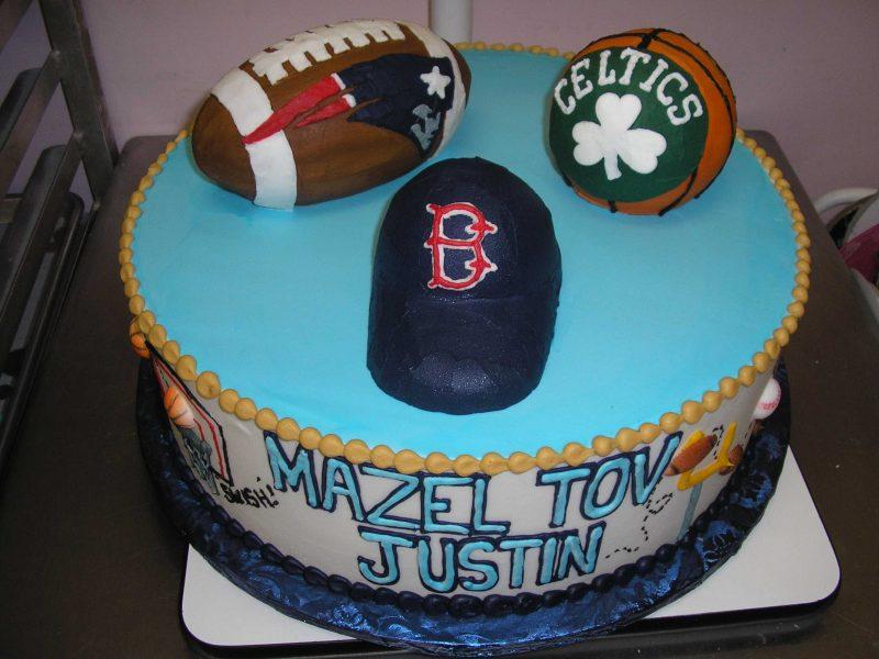 3D sports cake, celtics cake, red sox cake, patriots cake