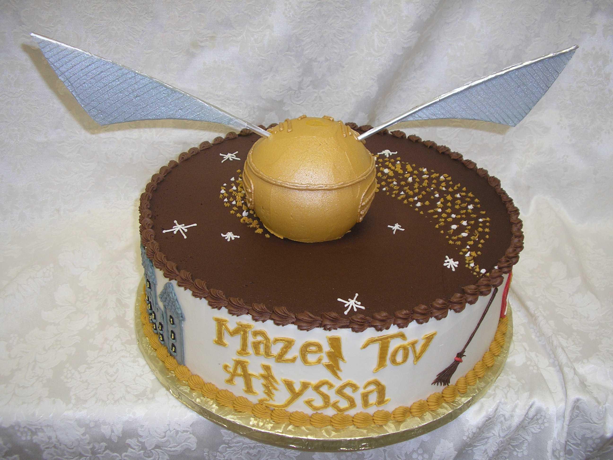harry potter cake, golden snitch cake