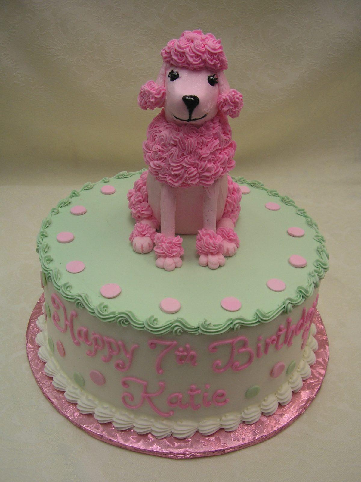 3D pink poodle on cake