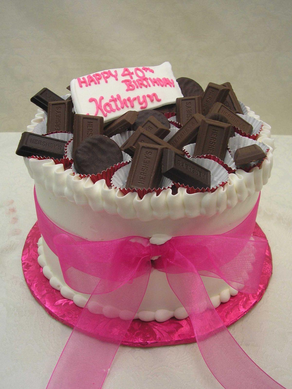 chocolates on top of cake designed like a box of chocolates