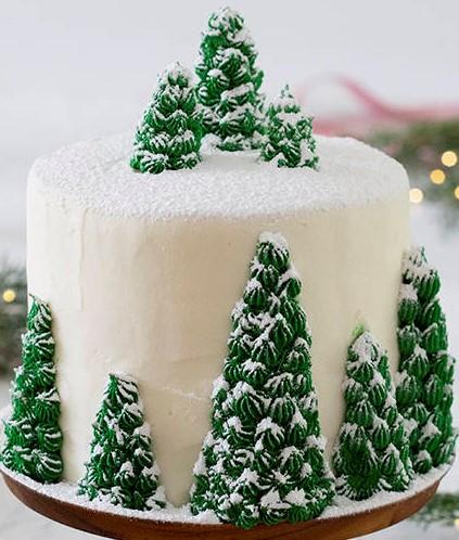 winter birthday cake, winter cake